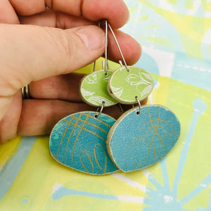 Book Pebbles Mixed Blues & Greens Recycled Book Cover Earrings
