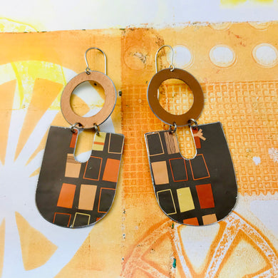 Retro Boxes on Chocolate Chunky Horseshoes Zero Waste Tin Earrings