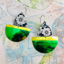 Load image into Gallery viewer, Shimmery Green Sailboats Upcycled Tin Earrings
