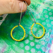 Load image into Gallery viewer, Yellow Spiraled Circle Upcycled Earrings