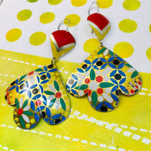 Load image into Gallery viewer, Flower Mosaic Trefoil Upcyled Tin Earrings
