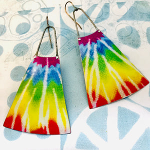 Tie Dyed Upcycled Tin Long Fans Earrings