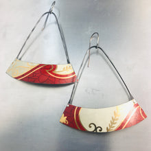 Load image into Gallery viewer, Crimson & Cream Wide Arc Zero Waste Tin Earrings