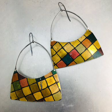 Vintage Golden Tiles Wide Arch Recycled Tin Earrings