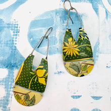 Load image into Gallery viewer, Yellow Blossoms in Polka Dots Zero Waste Earrings