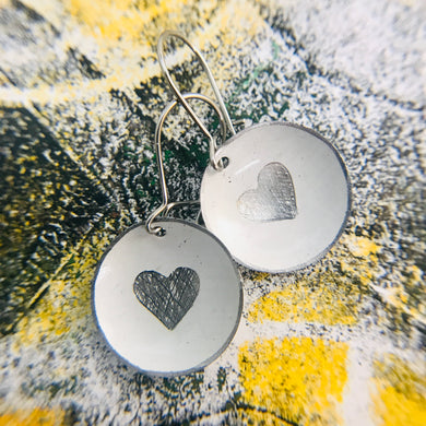 Etched Silver Heart on White Tiny Dot Tin Earrings