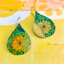 Load image into Gallery viewer, Big Blossoms on Green Upcycled Teardrop Tin Earrings