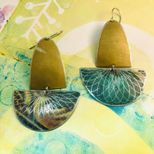Load image into Gallery viewer, Matte Gold and Forest Spirograph Upcycled Tin Boat Earrings