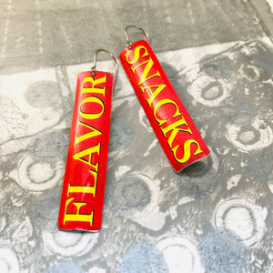 Flavor Snacks Long Narrow Tin Earrings