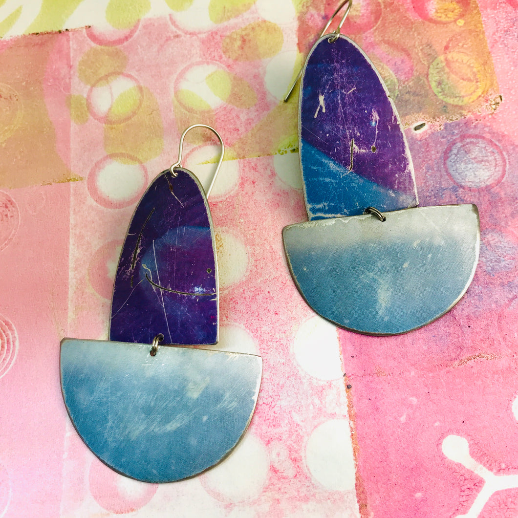 Rustic Purples and Gray Blues Upcycled Tin Boat Earrings