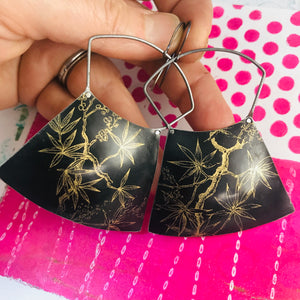 Golden Branches on Midnight Large Zero Waste Tin Earrings
