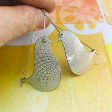 Load image into Gallery viewer, Palest Pastels Spirograph Birds on a Wire Upcycled Tin Earrings