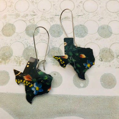 Blue Flowers on Black Texas Upcycled Tin Earrings
