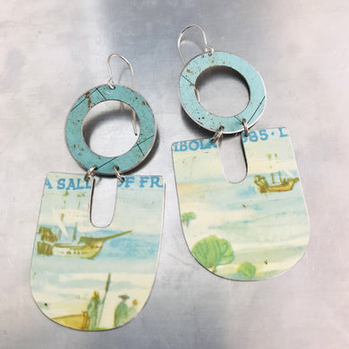 Ships at Sea Chunky Horseshoes Zero Waste Tin Earrings