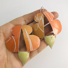 Load image into Gallery viewer, Abstract Orange Butterflies Zero Waste Tin Earrings