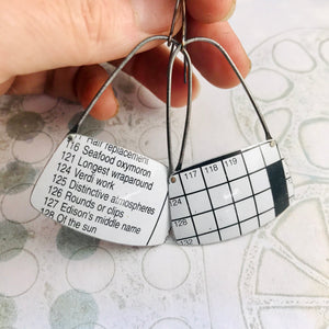 Crossword Puzzle Rounded Rectangles Zero Waste Tin Earrings