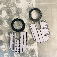 Load image into Gallery viewer, Black & White Pattern Chunky Horseshoes Zero Waste Tin Earrings