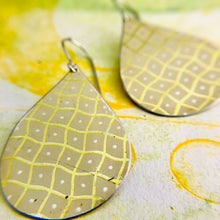 Load image into Gallery viewer, Wavy pale Yellow Checkerboard  Upcycled Teardrop Tin Earrings