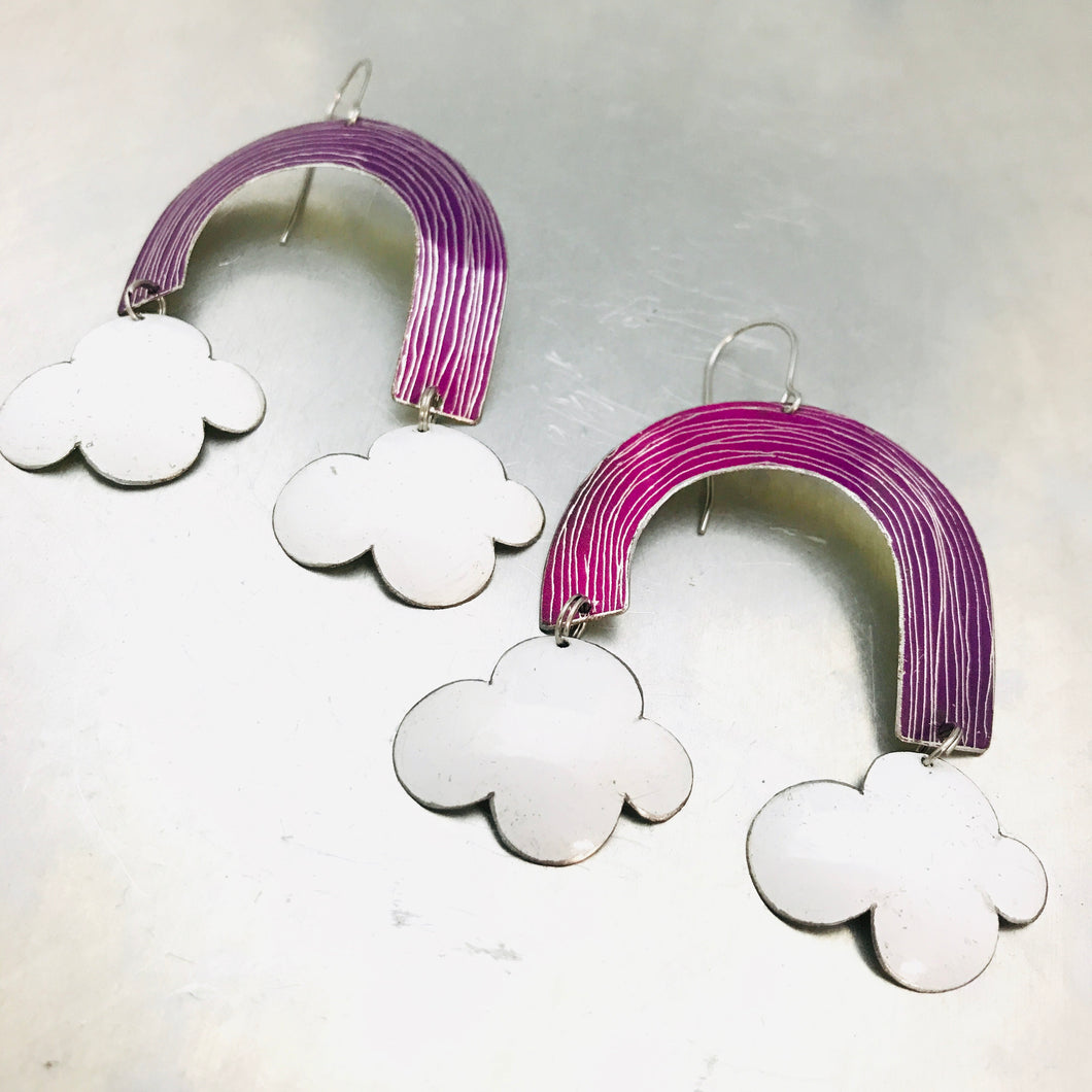 Purple Etched Rainbows with Puffy Clouds Upcycled Tin Earrings
