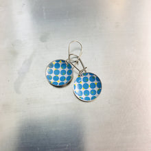 Load image into Gallery viewer, Blue Dot Halftone Pattern on White Upcycled Tiny Dot Earrings