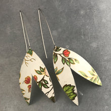 Load image into Gallery viewer, Red Buds & Green Leaves on White Upcycled Tin Earrings