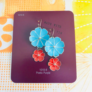 Sky & Scarlet Double Flower Ethical Tin Earrings