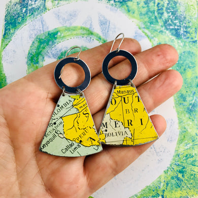 Vintage South America Map Small Fans Zero Waste Tin Earrings