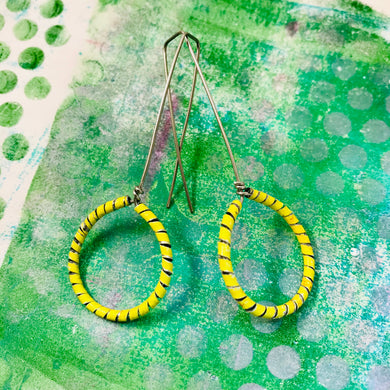 Yellow Spiraled Circle Upcycled Earrings
