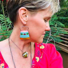 Load image into Gallery viewer, Vintage Festive Aqua Large Zero Waste Tin Earrings