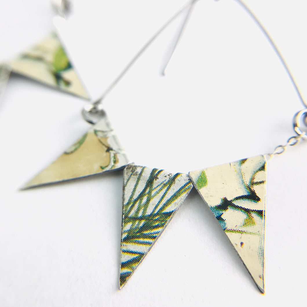 Mixed Botanicals Tiny Pennant Swag Upcycled Tin Earrings