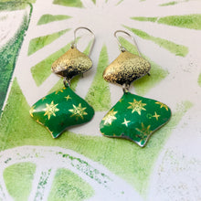 Load image into Gallery viewer, Paris Greens & Gold Rex Ray Zero Waste Tin Earrings