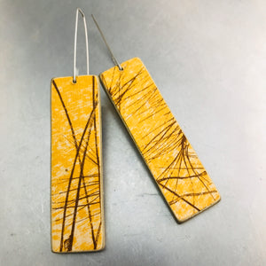 Wheat on Goldenrod Recycled Book Cover Earrings
