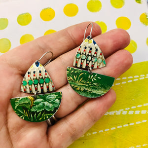 Mosaic & Green Little Sailboats Upcycled Tin Earrings