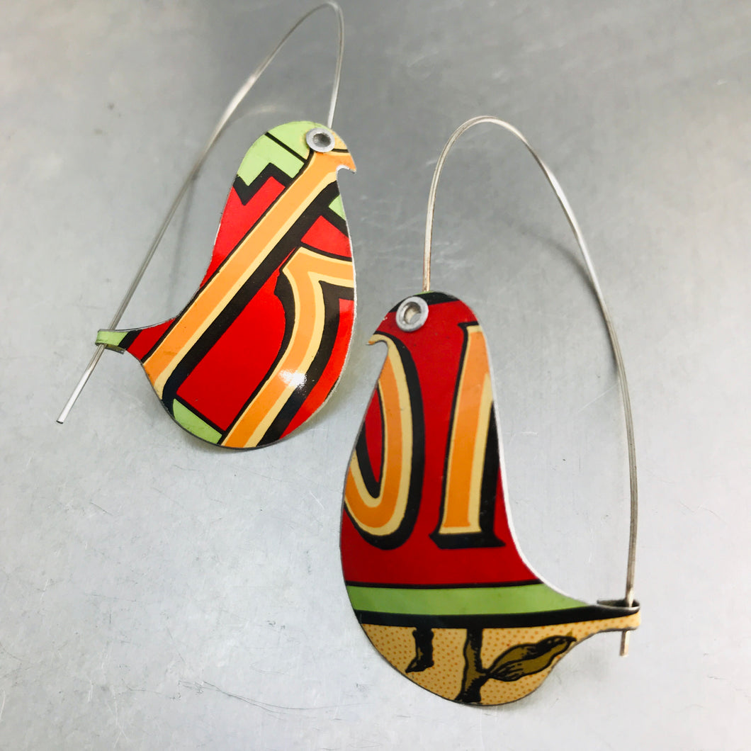Red Roma Birds on a Wire Upcycled Tin Earrings