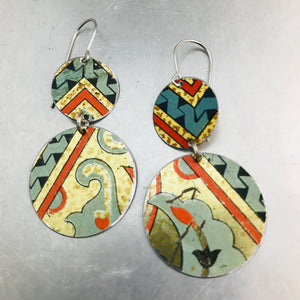 Vintage Mixed Patterns Circles Upcycled Tin Earrings