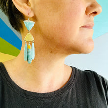 Load image into Gallery viewer, Aqua and Fawn Tin Chandelier Earrings