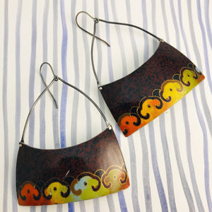 Vintage Harvest Colors Wide Arch Recycled Tin Earrings