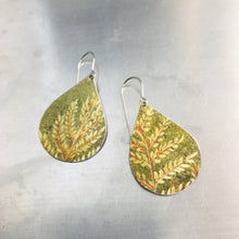 Load image into Gallery viewer, Fall Leaves Upcycled Teardrop Tin Earrings