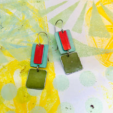 Load image into Gallery viewer, Cerise, Aqua & Green Olive Recycled Tin Earrings