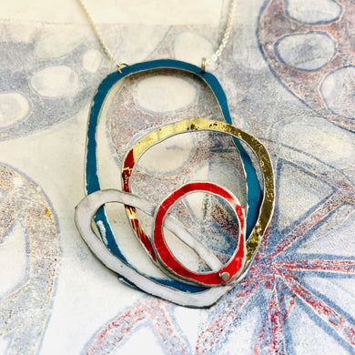 Teal, Gold, Scarlet & Snow Scribbles Upcycled Tin Necklace
