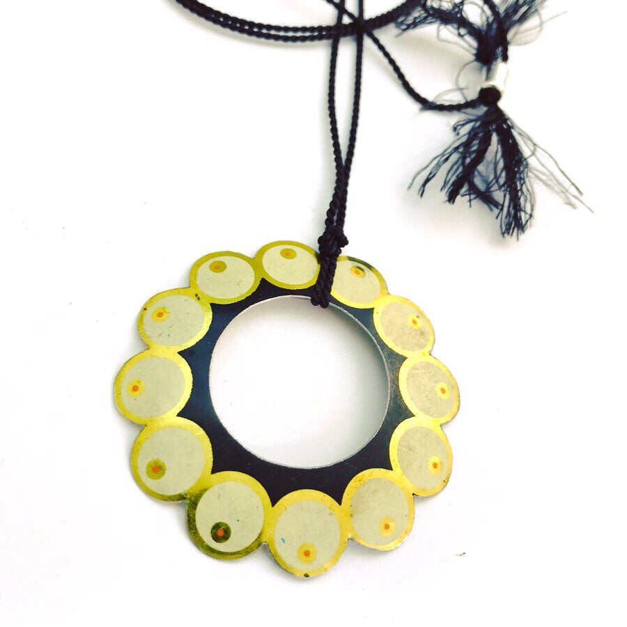 Circle of Pearls Upcycled Tin Necklace