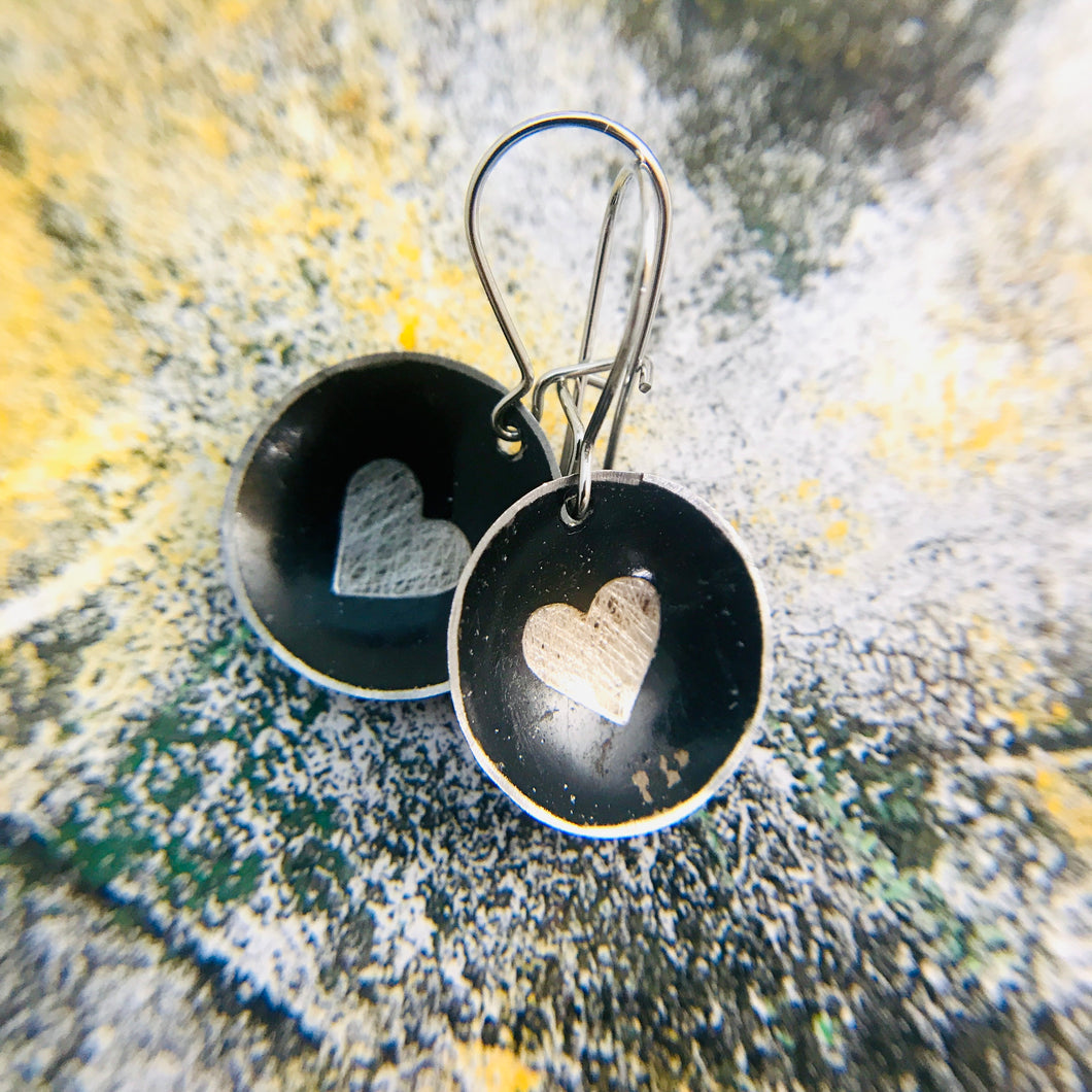 Etched Silver Heart on Black Tiny Dot Tin Earrings