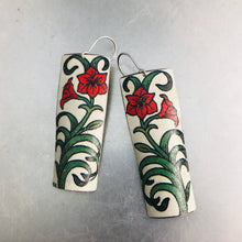 Load image into Gallery viewer, Red Lillies Recycled Tin Earrings