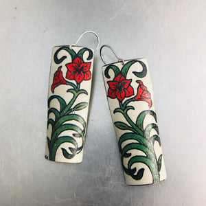 Red Lillies Recycled Tin Earrings
