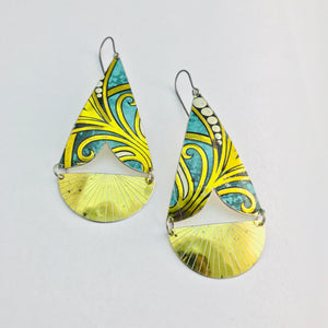 Green & Gold Vintage Tin Arrows Earrings