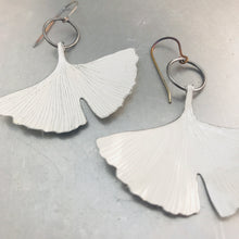 Load image into Gallery viewer, White Gingko Leaves Recycled Tin Earrings