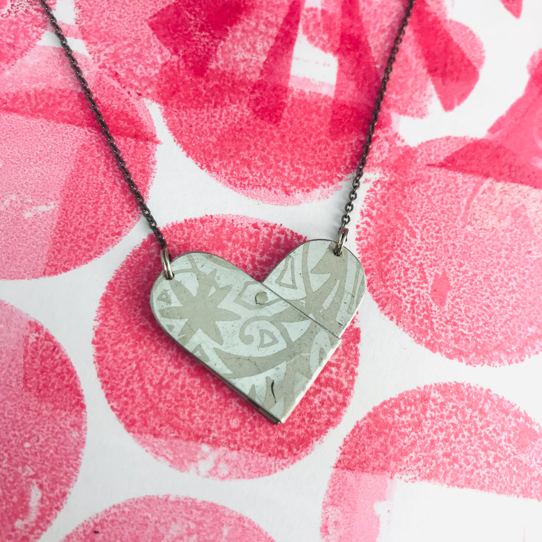 White on Silver Tin Heart Recycled Necklace