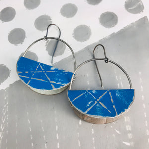 True Blue Half Moon Saddle Zero Waste Tin Earrings