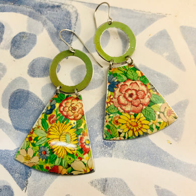 Vintage Overall Blossoms Small Fans Tin Earrings