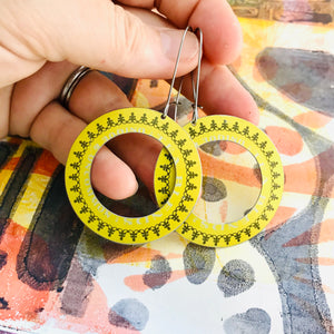 Creamy Yellow Big Ring Tin Earrings